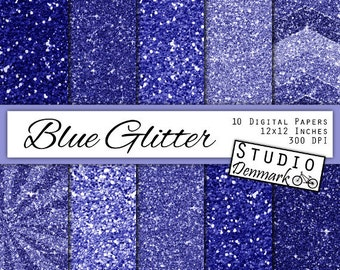 Blue Glitter Digital Paper - Blue Sapphire Sparkle Chunky Glitter Chevron - Blue Metallic Shine - 10 Papers - 12in x 12in - Instant Download