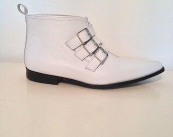 3 Buckle Winklepicker Boots in White Leather