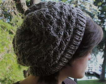 Shades of Brown Knit Hat-Rustic Knit Pattern-Slouch Beanie-Coffeehouse