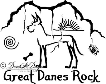 "Great Danes Rock ""Primitive"" Decal from DaneArt Design"