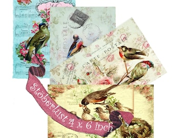 """Instant DOWNLOAD  4 x Postcards with birds nest, the word """"merci"""" vintage background music notes, different colors"""
