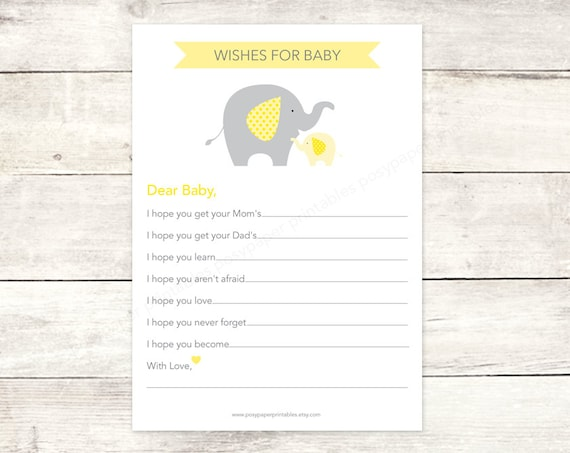 Wishes for baby shower printable diy elephants yellow grey for Wishes for baby template printable