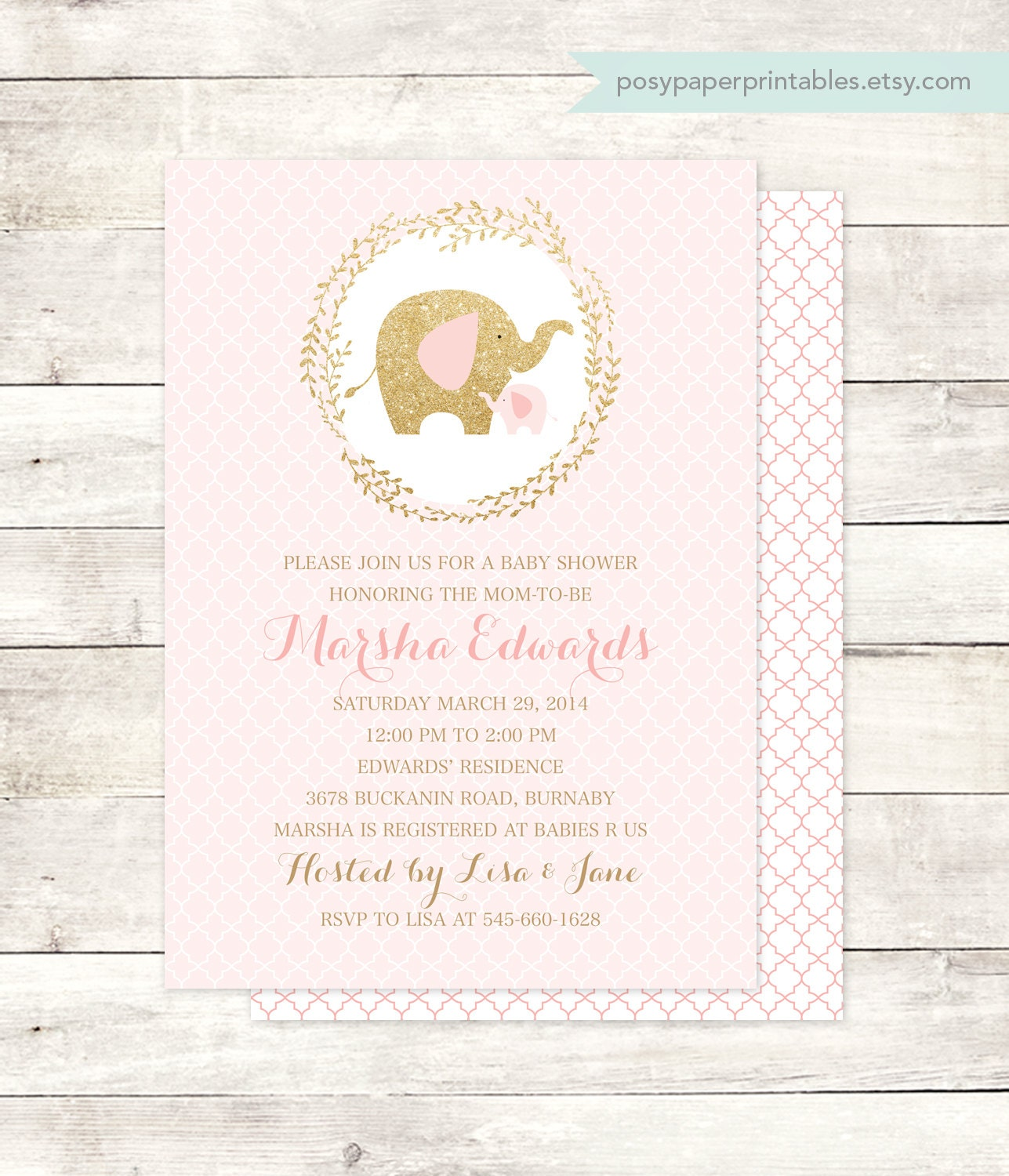 pink gold elephant baby shower invitation by posypaperprintables