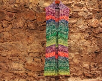 Multicolor vest, Womens long vest, Knitting vest, Pure wool colorful sweater