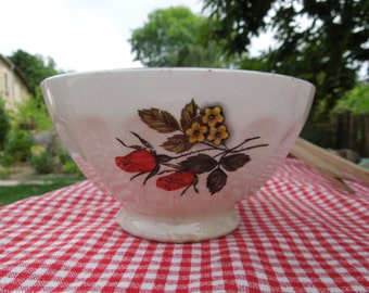Large cafe au lait bowl, coffee bowl, french vintage, white, rose and yellow flower, tea, hot chocolate, petit dejeuner, housewares, country