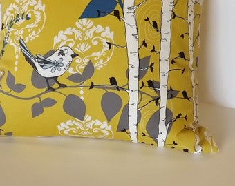 Pillow Cover, 20x20,Yellow, Birds and Trees, Novella Finnelopy, one of a Kind, Zipper