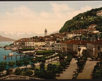 Bellagio, general view, Lake Como, Italy ~1890. Colorized photo / photochrom. Vintage reprint postcard, 8x10 and larger available.
