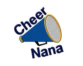 Cheer Nana Megaphone Machine Embroidery Design - 2 sizes