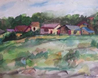 Landscape, watercolor painting, Vintage handmade, vintage art, vintage sign painting, fine art, painting of landscape, watercolor landscape