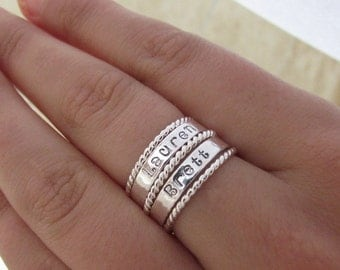 Personalized Sterling Silver Name Stacker  Set Custom Hand Stamped Mommy Rings TWO Name Rings and THREE Twist Stackers