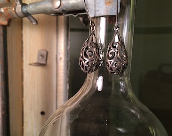 Sterling Silver Modern Art Deco Dangle Earrings