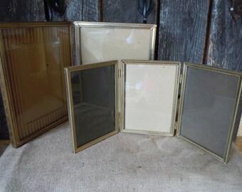 32 - REDUCED-Frames - Set of 2 - Vintage Metal- Hinged -Goldtone