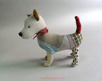 cloth doll,animal doll, linen doll, soft doll, soft toy, Dog doll(2 types), by joohongbit