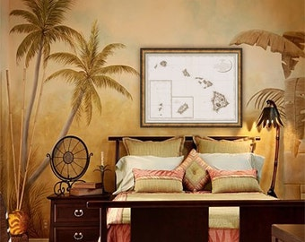 """Map of Hawaii 1794, Vintage Hawaii map, 3 sizes up to 40x30"""" (100x75 cm) Nautical chart of Sandwich Islands - Limited Edition of 100"""