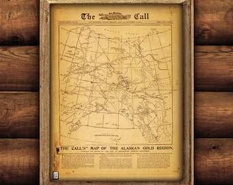 """Alaska Gold Rush map 1897, Vintage map of Alaska, 4 sizes up to 36x45"""" old Alaskan map of Gold Rush Poster - Limited Edition of 100"""