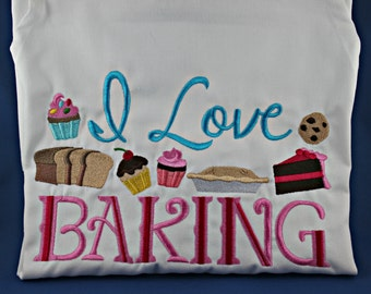 I love baking Embroidered Apron with Pockets