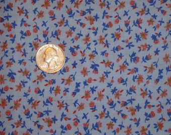 Floral Calico Chambray Blue Coral Flowers Cotton Quilting Fabric 1 3/8 yards only
