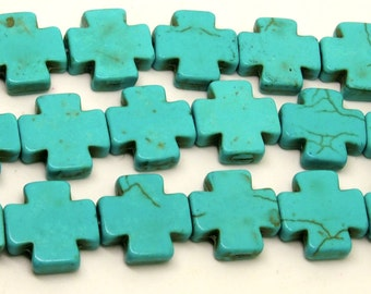 15x15 Turquoise  Cross  Beads   Magnesite  Crosses, Howlite Crosses  26pc
