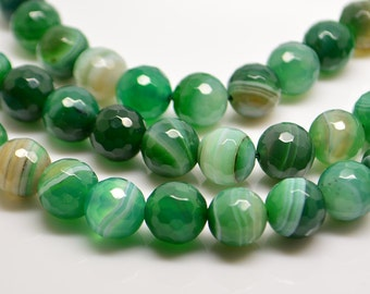 15 Inch Full Strand Green  Stripe  Agate 10MM Faceted  Round  Bead