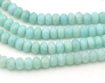 15.5 Inch Full Strand   Blue  Amazonite  Rondelle  Faceted 8MM X 5.5MM   Bead