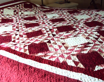 Red and White Patchwork Christmas Quilt-Traditional Handmade Cozy Queen Size Quilt-Christmas Gift