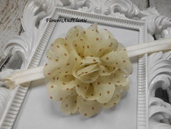 Cream with polka dot Frayed Lace,Chiffon flower Baby Headband, Newborn Headband,  Infant Headband, Headband Baby, Baby Headband