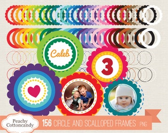 BUY 2 GET 1 FREE 156 Scalloped circle Frames Clip Art - Scalloped circle Labels digital clipart - Personal and Commercial Use