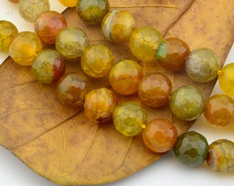 15INCH Yellow  Dragon Agate Gemstone Loose Beads 10MM Faceted Round