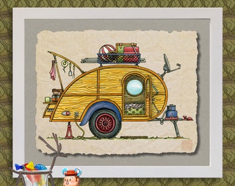 Teardrop Camper Happy Art Cute Whimsical Travel Trailer And Camp Er Prints Add Fun To