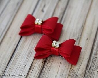 Red Bow Hair Clip, Bow Hair Clip, Red Hair Clip, Rhinestone Hair Clip, Girl Hair Clip, Baby Hair Clip, 649