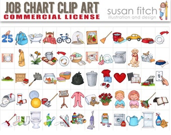 COMMERCIAL LICENSE for Job Chart Clip Art