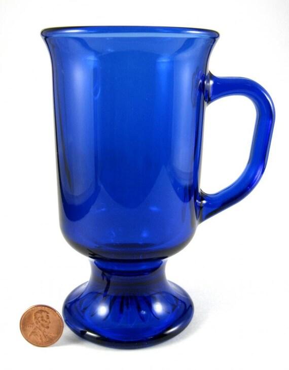 Cobalt Blue Glass Pedestal Mug Irish Coffee Mug Blue Mug