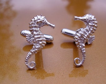 One Pair Sterling Silver SEAHORSE Cufflinks In Presentation Box