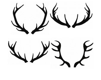 Set 4 Silhouette Buck Antlers...Instant Download...Pattern Fill Machine Embroidery DESIGN NO. 71