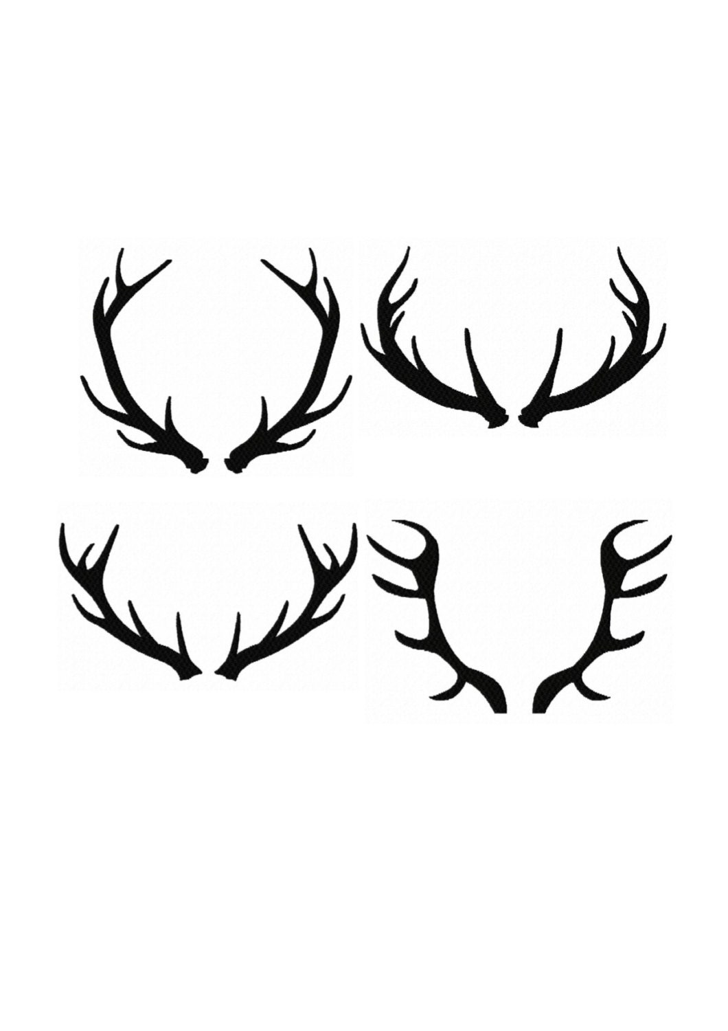 Set 4 Silhouette Buck Antlers...Instant Download...Pattern
