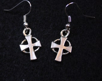 Celtic Cross - Sterling Silver Dangle Earrings