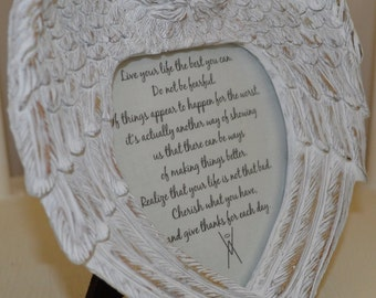 Vintage Antique Shabby Chic Angel Wing Picture Frame - Affirmations - Quotes