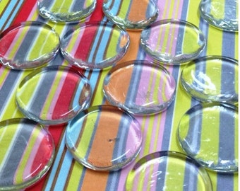 QTY 20 - Clear glass discs for magnets and pendants - 1.25 inch 28mm