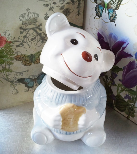 Ceramic Cookie Jar Teddy Bear Biscuit Jar Blue And White