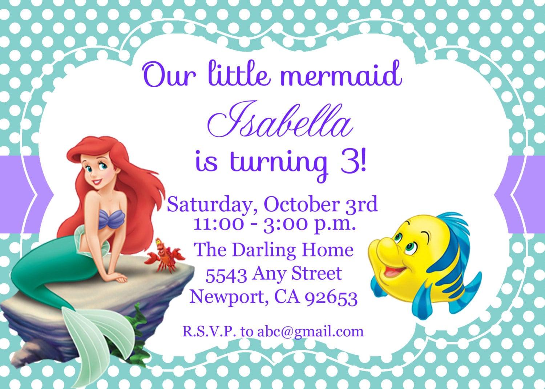 The Little Mermaid Invitation Ariel Disney by ...