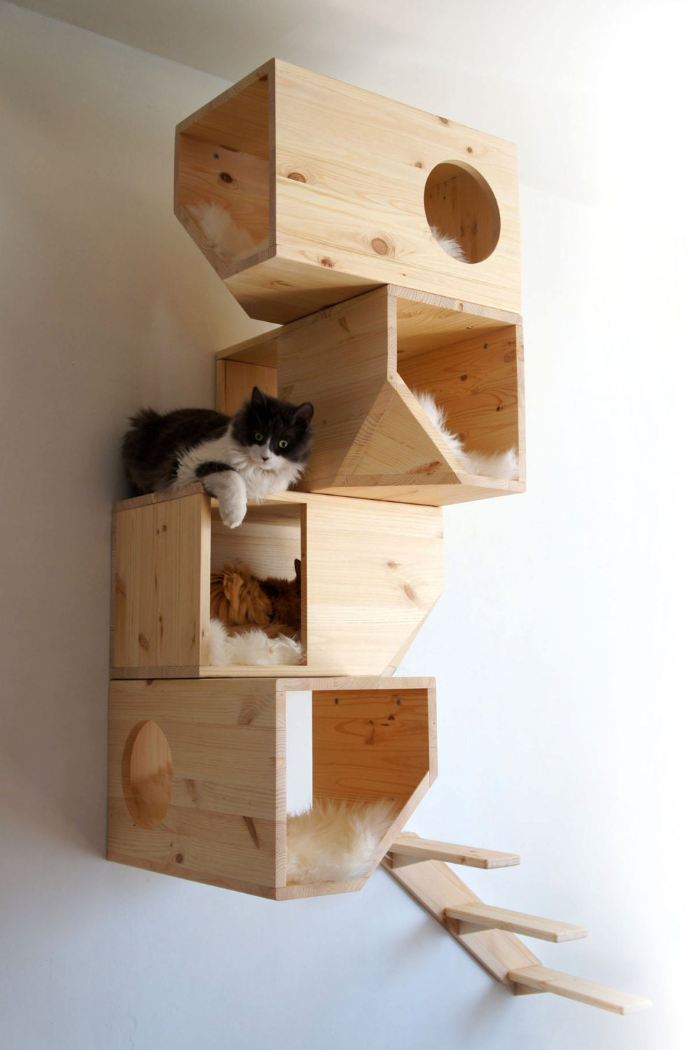 Wooden modular cat house - Sofas para gatos ...