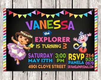 Dora Invitation - Dora the Explorer Birthday Party - Chalkboard Rainbow Invite