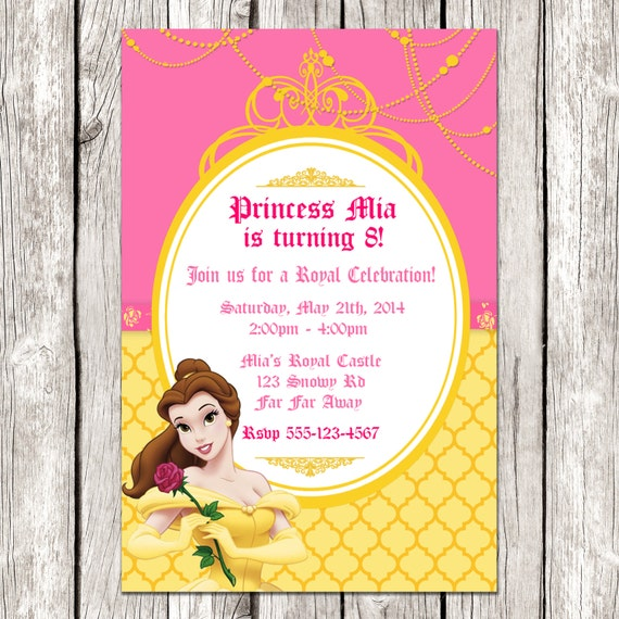 Belle Invitation Beauty & the Beast Birthday Party DIY