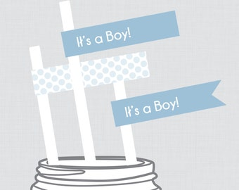 """Baby Shower Straw Flags Printable - Blue """"It's a Boy"""" Stripes and Dots Instant Download"""