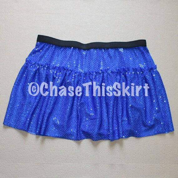 sparkly blue ruffled running skirt by chasethisskirt on etsy