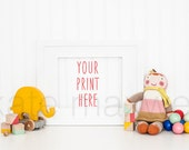 White Landscape Frame w/ Elephant Pull Toy & Baby Beads / Stock Photography / Print Background / Paper Product Styling / High Res File #149
