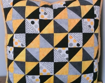 REDUCED.   Handcrafted patchwork cushion cover.  Quilted Black/Yellow cushion cover with yellow binding and plain black back.