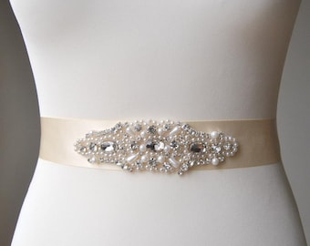 Pearls Rhinestones Bridal Sash ,Wedding Dress Sash Belt,  Rhinestone Sash,  Rhinestone Bridal Bridesmaid Sash Belt, Wedding dress sash