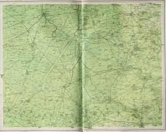 Cambridgeshire, Norfolk, East Anglia, England, Huge 1903 Antique Map, Folding Colour Map
