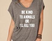 Eco Jersey Sleeveless Hooded Poncho Eco Grey – Be Kind To Animals OR I'll Kill You!